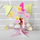 Набор для оформления праздника «1 годик малышка», воздушные шары, подставка для торта, гирлянда, топперы, открытка, свеча - фото 951064