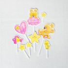 Набор для оформления праздника «1 годик малышка», воздушные шары, подставка для торта, гирлянда, топперы, открытка, свеча - фото 951065