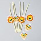 Набор для оформления праздника «Сафари», воздушные шары, тарелки, топперы, трубочки, наклейки, коробочки для пирожных, свечи - фото 951071