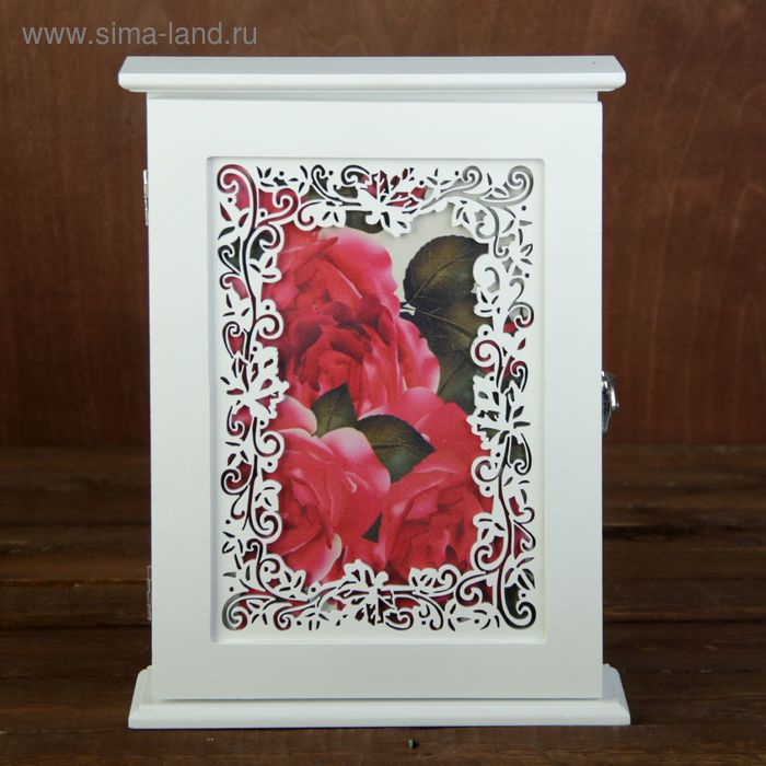 """Ключница дерево ажурный растительный узор """"Пышные розы"""" 29,5х22х6 см"""