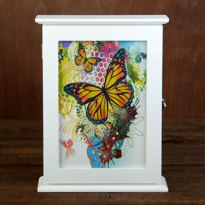 """Ключница дерево белая """"Яркие бабочки"""" 29,5х22х6 см"""