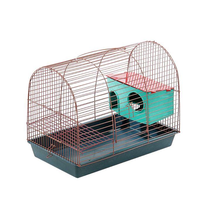 """Клетка для грызунов """"Саквояж"""", малая, двухярусная с домом, 40 х 25 х 32 см, микс цветов"""