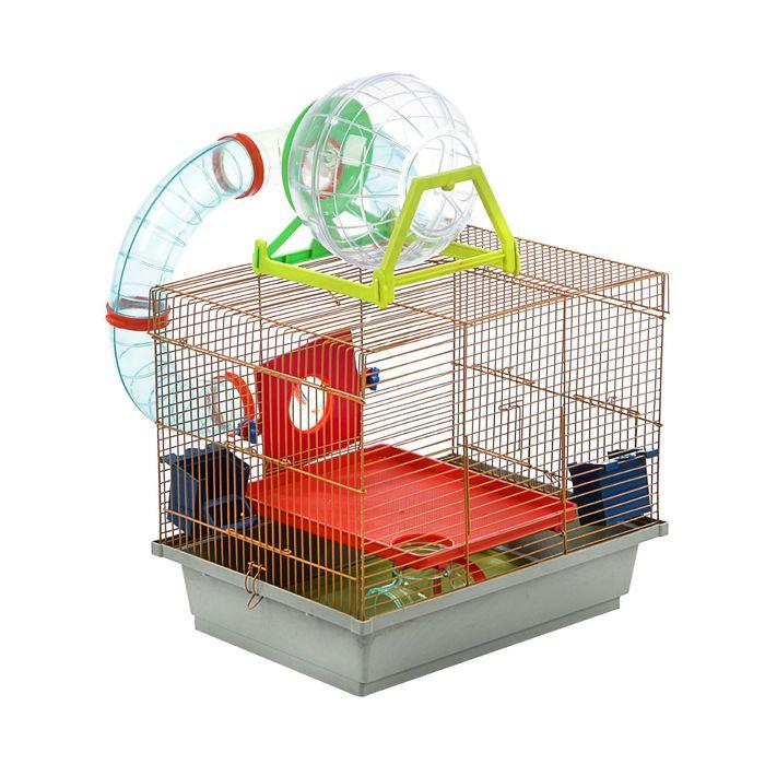 Клетка для грызунов двухярусная с лабиринтом и колесом, 39 x 29 х 33 см, микс цветов