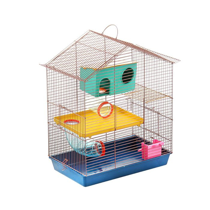 """Клетка для грызунов """"Дом"""" трехярусная, 40 x 25 х 47 см, микс цветов"""