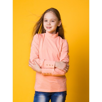 Водолазка для девочки, рост 146 см, цвет персиковый