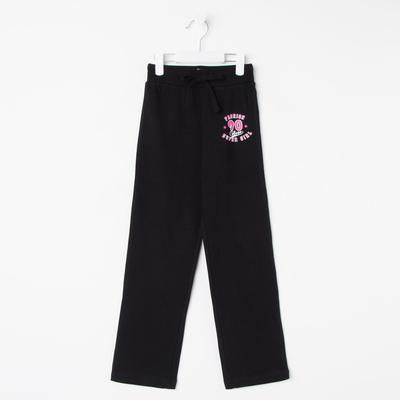 Брюки спортивные для девочки, рост 134 см, цвет чёрный CAJ 7589