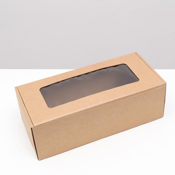 Коробка самосборная бесклеевая, крафт, бурая 16 х 35 х 12 см