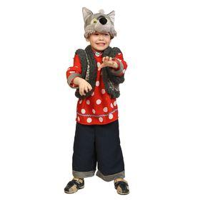 """Карнавальный костюм """"Волк Зубами щёлк"""", маска, рубаха, жилет, бриджи, рост98-128 см,  8001"""