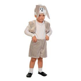 """Карнавальный костюм """"Зайчик серый"""", плюш-лайт, жилет, шорты с хвостиком, маска, рост 92-116 см"""