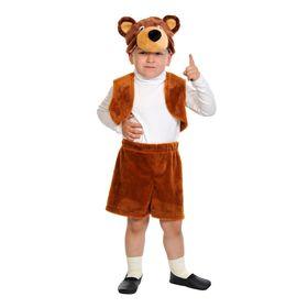 """Карнавальный костюм """"Бурый мишка"""", плюш-лайт, жилет, шорты, маска, рост 92-116 см"""
