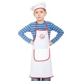 """Карнавальный костюм """"Поварёнок"""", текстиль, фартук, колпак, р-р 30-32, рост 116-122 см"""