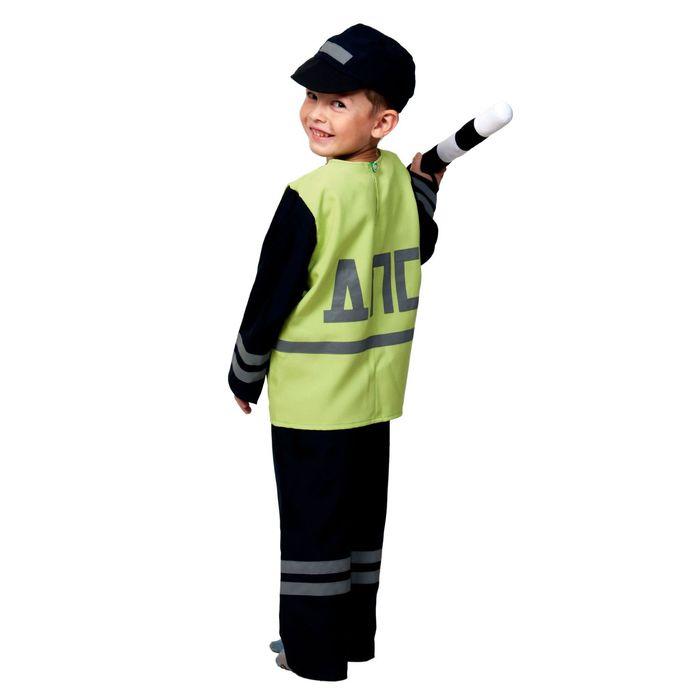 """Карнавальный костюм """"Полицейский ДПС"""", куртка, брюки, кепка, жезл, р-р 30-32, рост 116-122 см"""