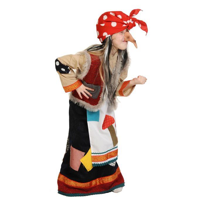 """Детский карнавальный костюм """"Баба-Яга"""", рубаха, юбка с фартуком, безрукавка с горбом, нос, платок, р-р 32-34, рост 128-134 см"""