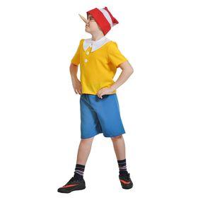"""Детский карнавальный костюм """"Буратино"""", текстиль, рубашка, шорты, колпак, нос, р-р 28-30, рост 92-110 см"""