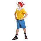 """Детский карнавальный костюм """"Буратино"""", текстиль, рубашка, шорты, колпак, нос, р-р 30-32, рост 116-122 см"""