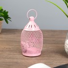 """Подсвечник металл 1 свеча """"Уличный фонарь в сеточку с бабочками"""" розовый 16х8,5х8,5 см"""