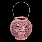 """Подсвечник металл 1 свеча """"Шар в сеточку с бабочками"""" розовый 15х15х15 см"""