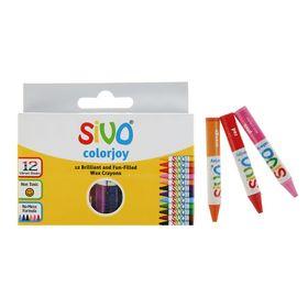 Мелки восковые 12 цветов Sivo Colorjoy 90/8мм круглый , SV-6097C/12 Ош