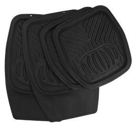 Set of floor mats for cars. 4 PCs, 70x48 cm and 50x48 cm, black.