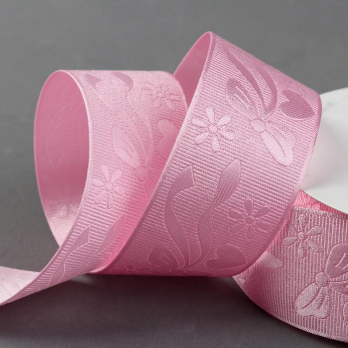 Лента декоративная «Бант», 40 мм, 23 ± 1 м, цвет розовый №1