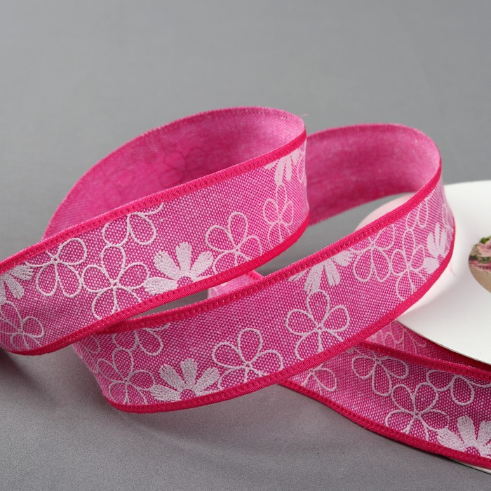 Лента хлопковая «Цветочки», 25 мм, 23 ± 1 м, цвет розовый №7