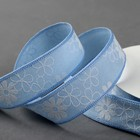 Лента хлопковая «Цветочки», 25 мм, 23 ± 1 м, цвет голубой №1