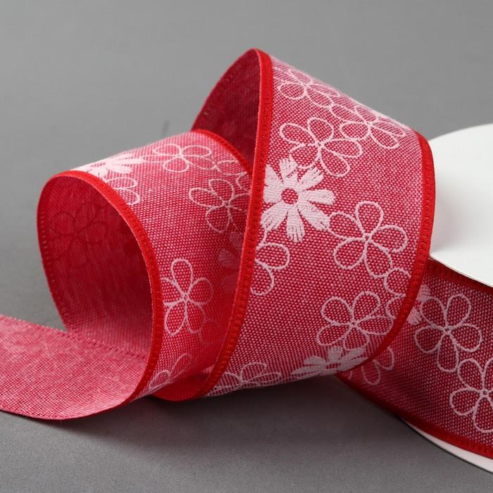 Лента хлопковая «Цветочки», 40 мм, 23 ± 1 м, цвет красный №9