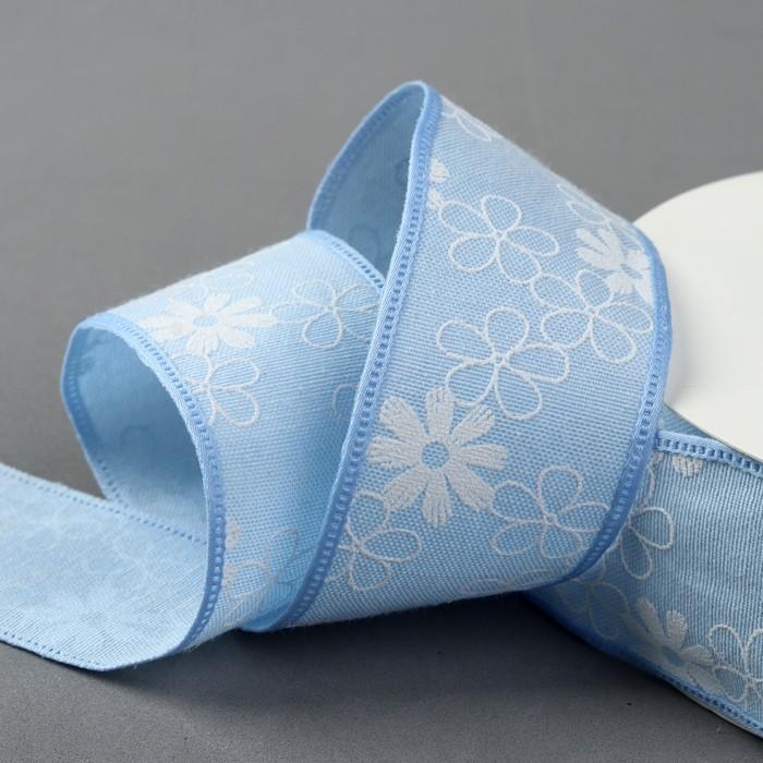 Лента хлопковая «Цветочки», 40 мм, 23 ± 1 м, цвет голубой №1