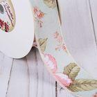 Лента хлопковая «Цветы», 40 мм, 23 ± 1 м, цвет салатовый №10