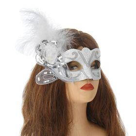 Карнавальная маска «Грация», с пером, цвет белый