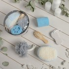 Набор банный, 5 предметов: 3 мочалки, пемза, расчёска, цвет МИКС