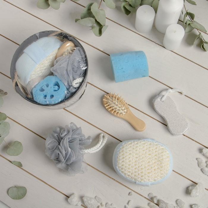 Набор банный 5 предметов: 3 мочалки, пемза, расческа, цвет МИКС