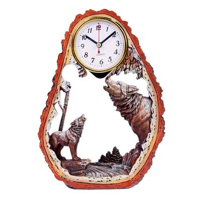 """Часы настольные """"Волчья стая"""" с  маятником, 28х20 см"""