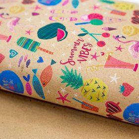 Бумага упаковочная крафт 'Summer vibes', 50 х 70 см Ош