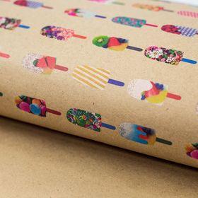 Бумага упаковочная крафт 'Вкусное лето', 50 х 70 см Ош
