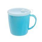 Кружка для СВЧ с крышкой, цвет голубой