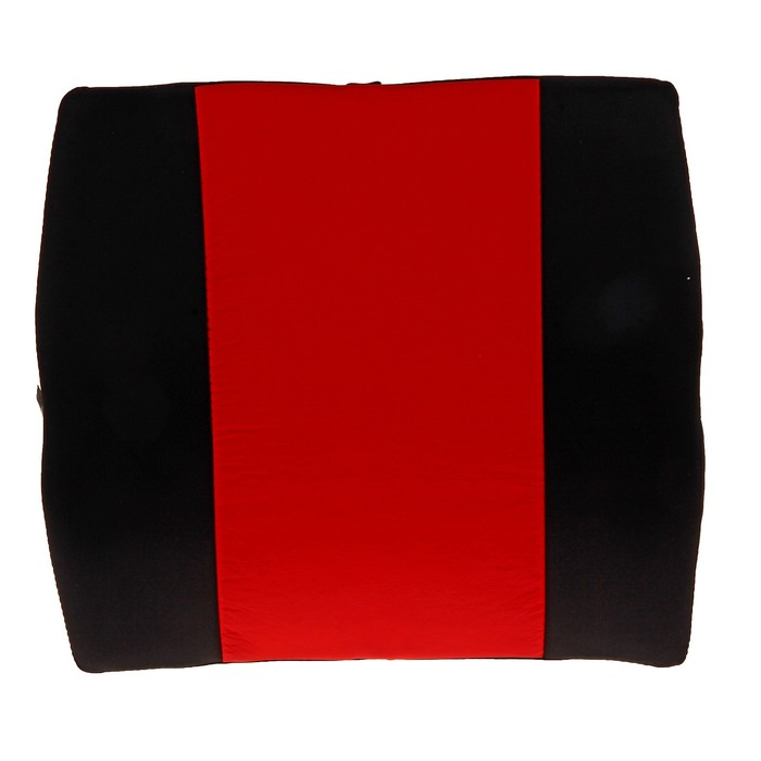 Ортопедическая подушка для поясницы на спинку сиденья, 36х33 см, красная с черным