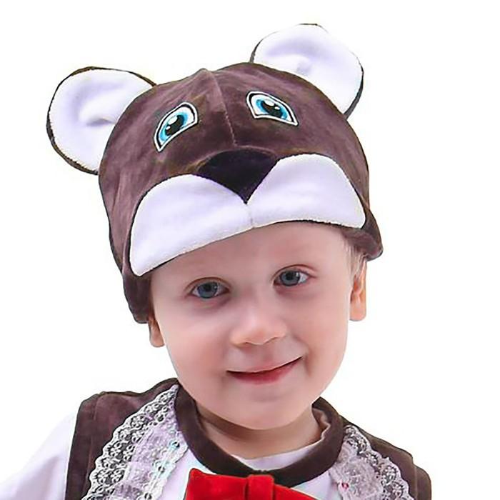 Карнавальная шапка «Медведь», велюр, хлопок, р-р 52-57