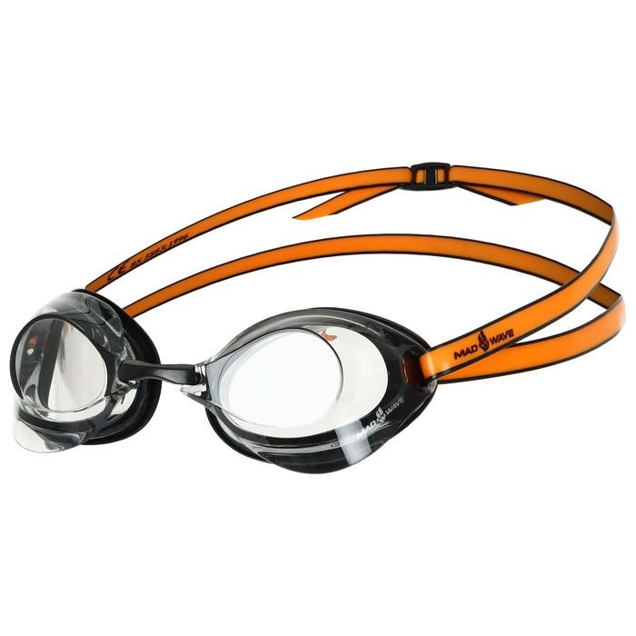 Очки для плавания стартовые Turbo Racer II, цвет чёрный/оранжевый