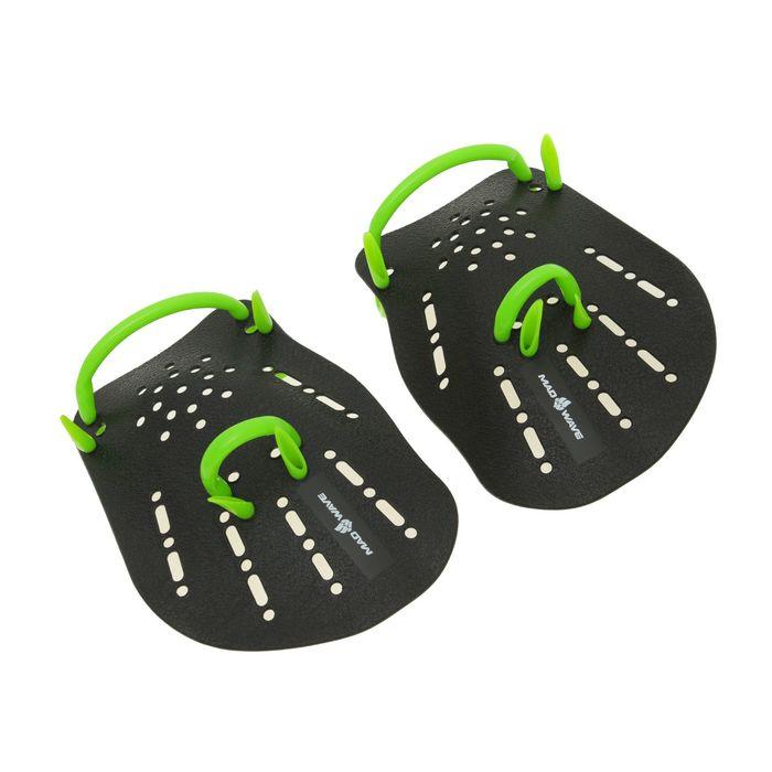 Лопатки Hand Paddles Mad Wave, 21.5х18х0.2 см, размер L, цвет чёрный/зелёный