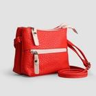 Сумка женская, 2 отдела на молнии, наружный карман, длинный ремень, цвет красный