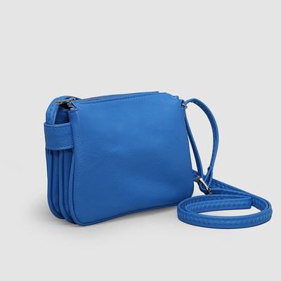 484ae40ed08b Сумка женская на молнии, 3 отдела, наружный карман, регулируемый ремень,  цвет синий