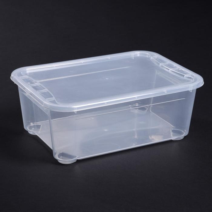 Ящик для хранения с крышкой «Кристалл», 10 л, 38,5×27,5×14,3 см, цвет прозрачный - фото 308334228