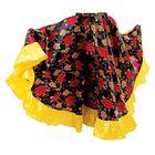Цыганская юбка для девочки с  желтой оборкой по низу длина 67 (рост 122-128)