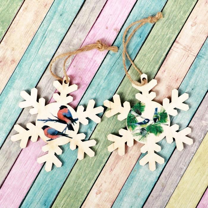 """Подвеска новогодняя с цветным принтом """"Снежинка"""", набор 2 шт."""