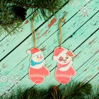 """Christmas pendant with color print """"the mitten"""", 2 PCs."""