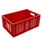 Ящик п/э мясной 60х40х25 см сплошной, цвет красный
