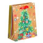 Пакет крафтовый вертикальный «Ёлочка-красавица», 12 × 15 × 5,5 см