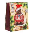 Пакет крафтовый вертикальный «Новогоднее послание», 12 × 15 × 5,5 см