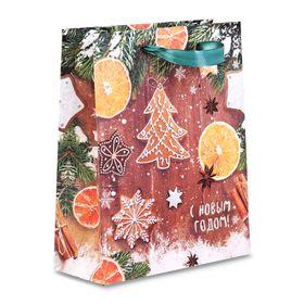 Пакет крафтовый вертикальный «Ароматы зимнего вечера», 23 × 27 × 8 см Ош